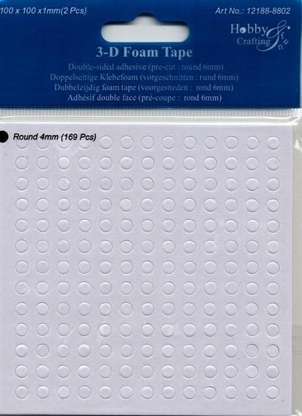 Dubbelzijdig klevent foam Rondjes 4 mm(169 stuks)