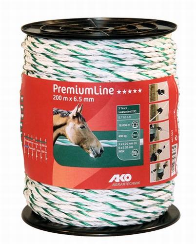 AKO PremiumLine schrikdraad wit/groen 6.5mm - 200m