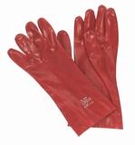 Werkhandschoen rood 35 cm. lang.