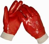Handschoen PVC rood tricotboord gesloten rug