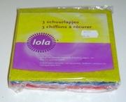 Lola 3 schuurlapjes in drie kleuren