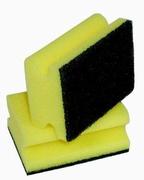 Schuurspons Groen/geel met handgreep 14 x 7 x 4 cm. dik