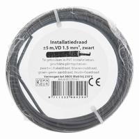 Installatiedraad 1.5 mm². 5 m zwart